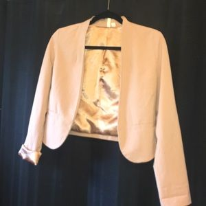 Short Blazer Nude Color with Metallic lining
